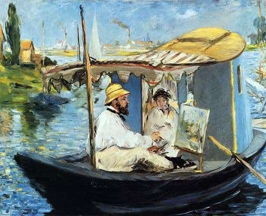Description of the painting by Edward Manet Claude Monet in his boat studio