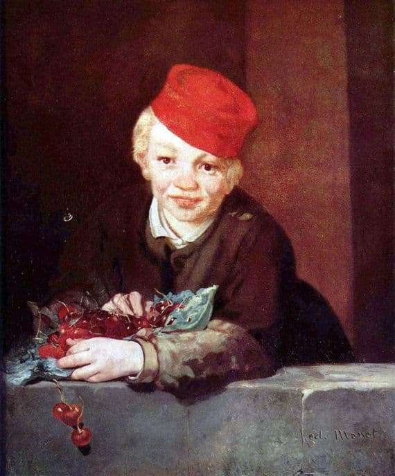 Description of the painting by Edward Mane Boy with cherries