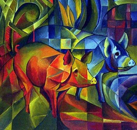 Description of the painting by Franz Marc Pigs