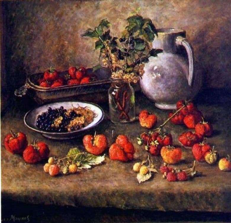 Description of the painting by Ilya Mashkov Strawberry and white jug