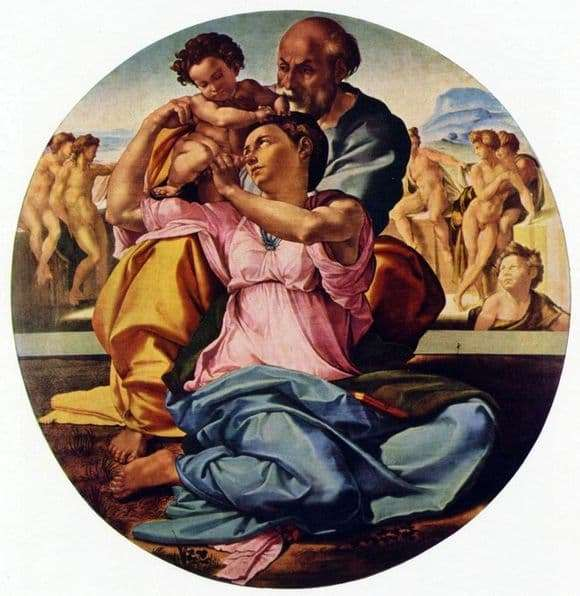 Description of the painting by Michelangelo Buanarroti Holy Family