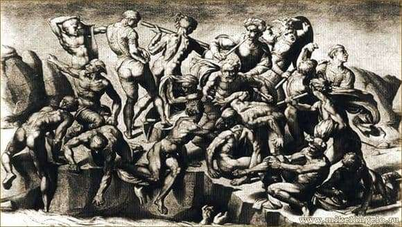 Description of the painting by Michelangelo Buanarroti Battle of Kashin