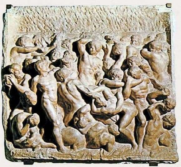 Description of the painting by the bas relief of Michelangelo Buanarrotti Battle of the Centaurs