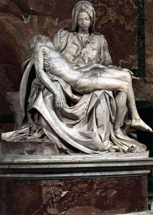 Made in Italy Pieta Sculpture Michelangelo Statue Wood Base