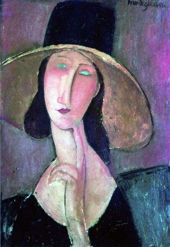 Description of the painting by Amedeo Modigliani Portrait of Jeanne Hebuterne in a big hat