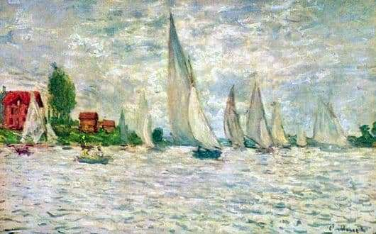Description of the painting by Claude Monet Sailboats
