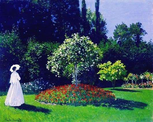 Description of the painting by Claude Monet Lady in the garden