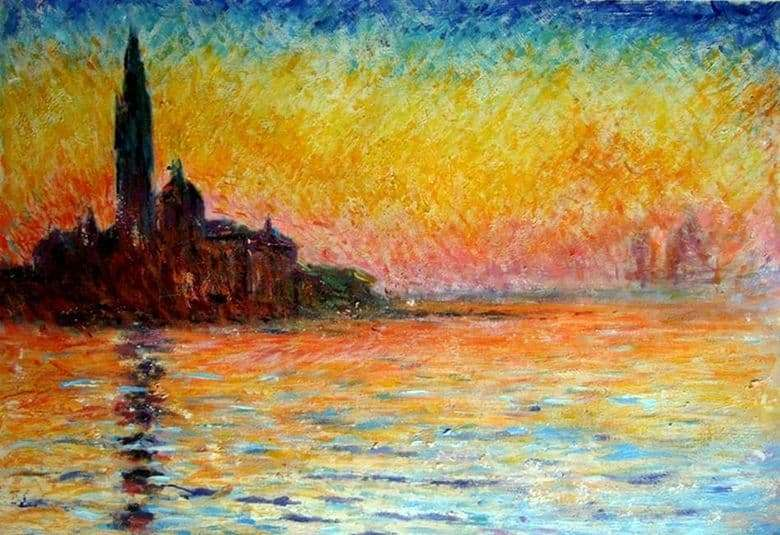 Description of the painting by Claude Monet San Giorgio Maggiore at Dusk