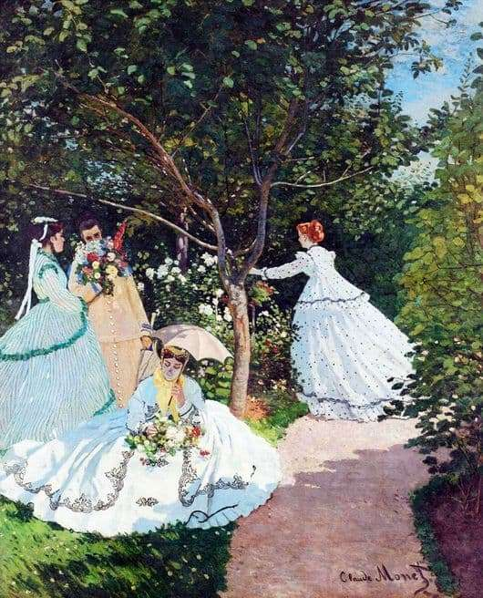 Description of the painting by Claude Monet Women in the garden