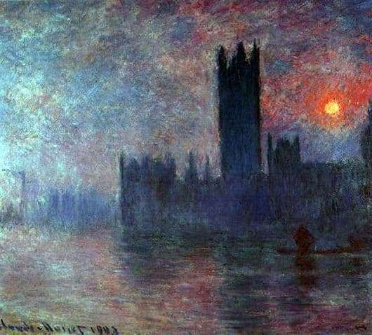 Description of the series of paintings by Claude Monet Parliament in London
