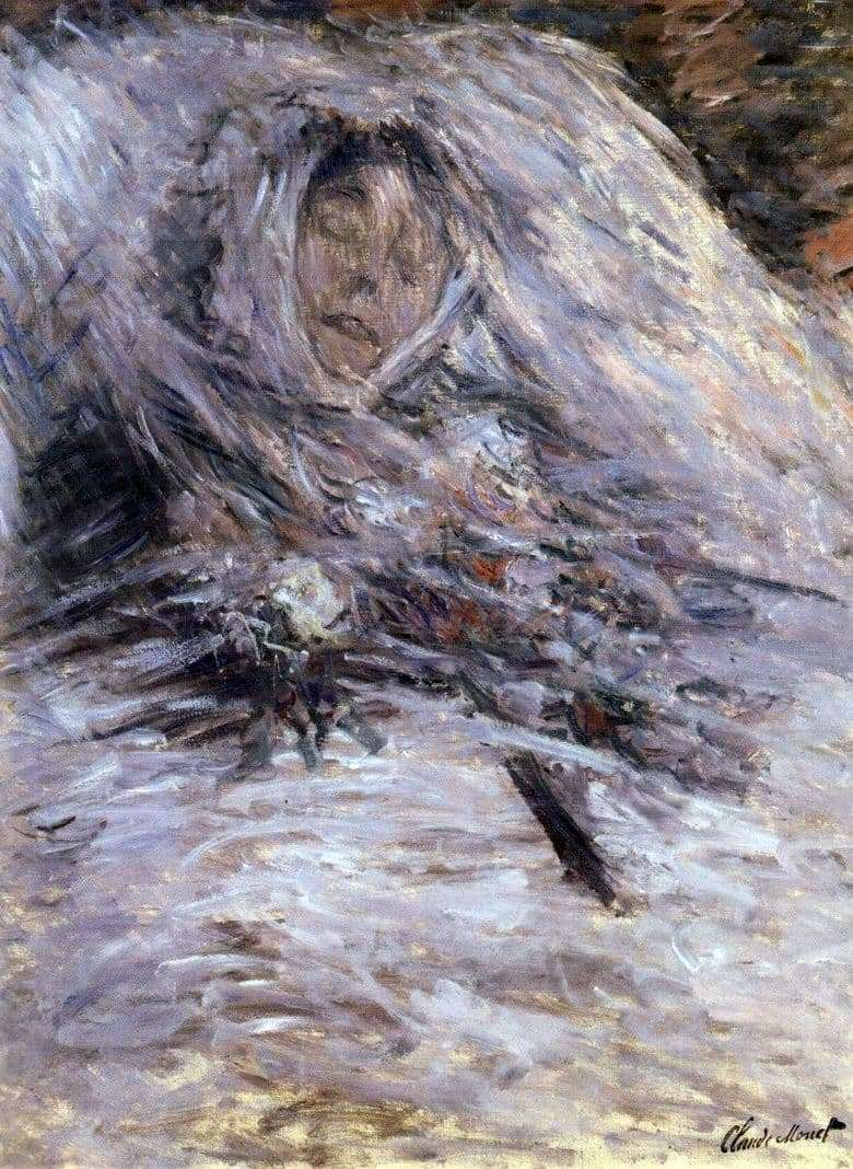 Description of the painting by Claude Monet Camilla on his deathbed