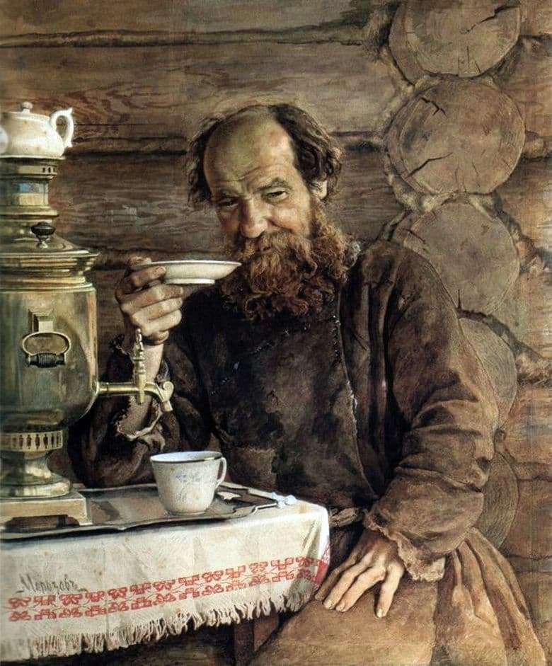 Description of the painting by Alexander Morozov For tea drinking
