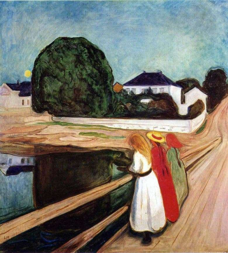 Description of the painting by Edward Munch Girls on the bridge