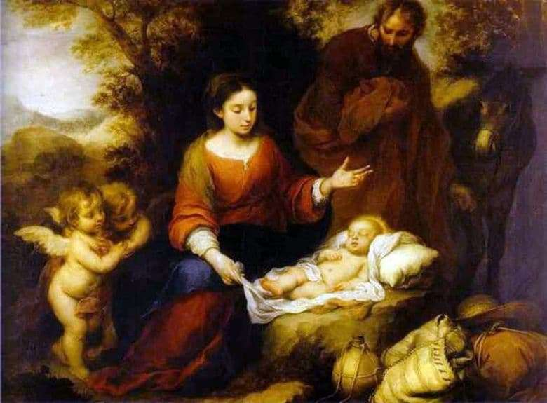 Description of the painting by Bartolome Esteban Murillo Rest on the way to Egypt