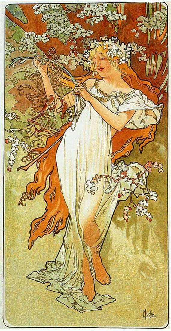 Description of the painting by Alphonse Mucha Spring