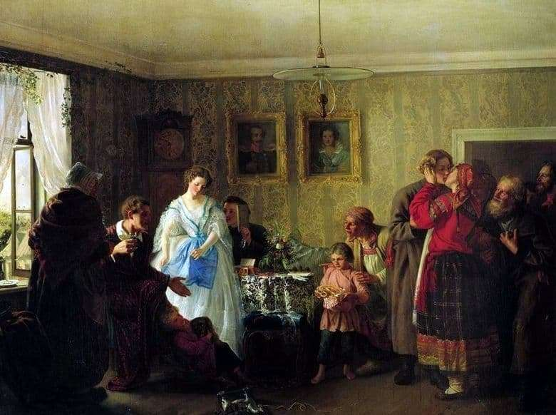 Description of the painting by Gregory Myasoedov Congratulations of the young in the house of the landowner