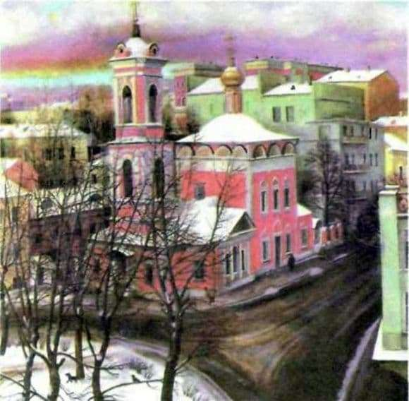 Description of the painting by Tatiana Nazarenko Church of the Ascension on the street Nezhdanova