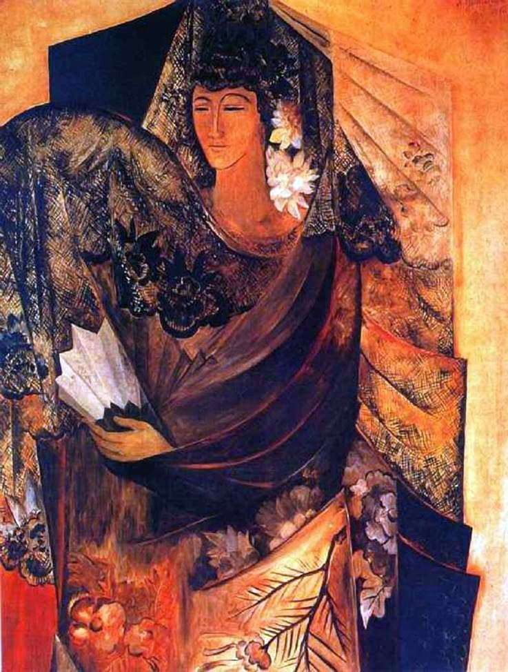 Description of the painting by Natalia Goncharova Spaniard