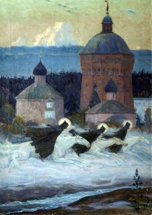 Description of the painting by Mikhail Nesterov Riders