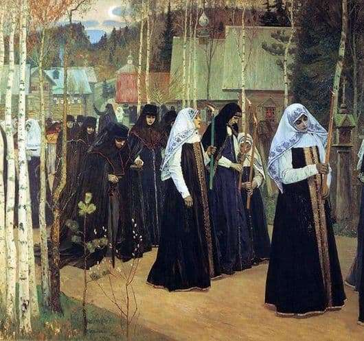 Description of the painting by Mikhail Nesterov Great tonsure